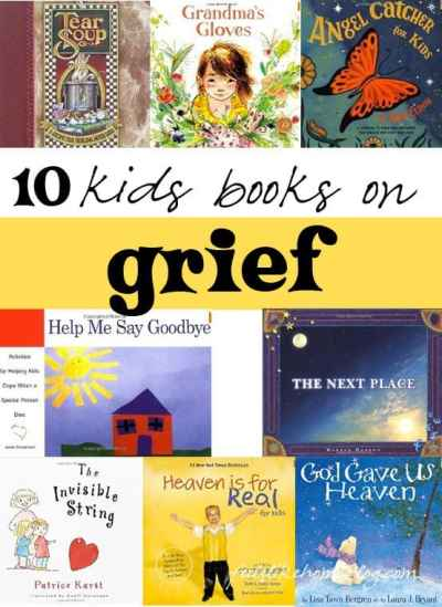a collage of kids books on grief