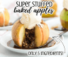 a super stuffed baked apple with cinnamon brown sugar filling spilling out and a scoop of vanilla ice cream