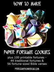 How to Make Paper Fortune Cookies - No template needed because they're made from a circle. Includes a free printable with 100 fortunes. These are fun for Chinese New Year or New Year's Eve. Cute treats for friends, families, or birthdays and parties. Includes some simple and awesome Bible verses.