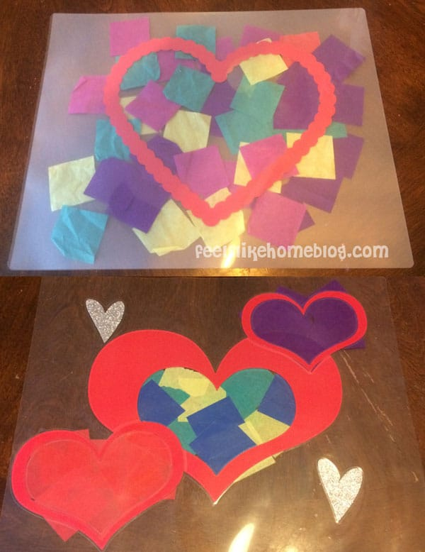 Before & After Laminating - Easy Valentine Suncatcher Crafts for Kids