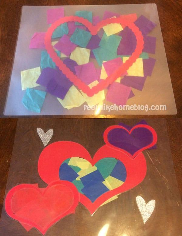 Before & After Laminating - Easy Valentine Suncatcher Crafts for Kids