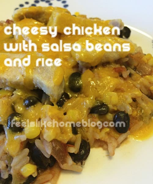 Quick and Easy Gluten-Free Cheesy Chicken with Salsa Beans and Rice - This quick and easy weeknight meal is made in a skillet on the stovetop. One pot meal. Healthy with modifications for low carb and keto and paleo.