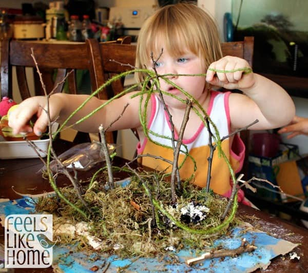 DIY Tropical Volcanic Island Craft for kids - An Island Grows book activities - This simple and easy project idea uses recycled materials. Easy enough for toddlers or preschoolers, but could be made more complex for kindergarten or older elementary children. Fun activities.
