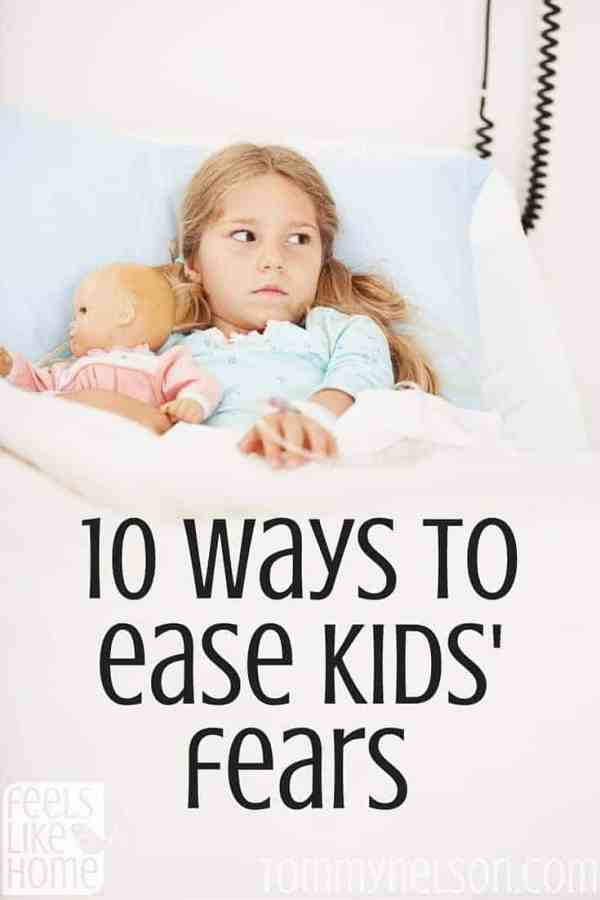 10 ways to ease kids' fears - This mom of a child with severe anxiety offers coping strategies and tools for relief from worries. Tips and ideas for parents and children including panic attacks and other anxiety-related feelings.
