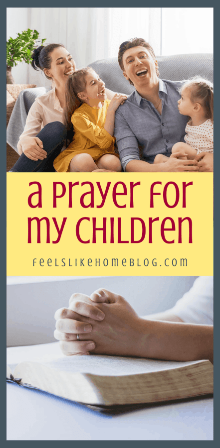 praying hands and a family with kids