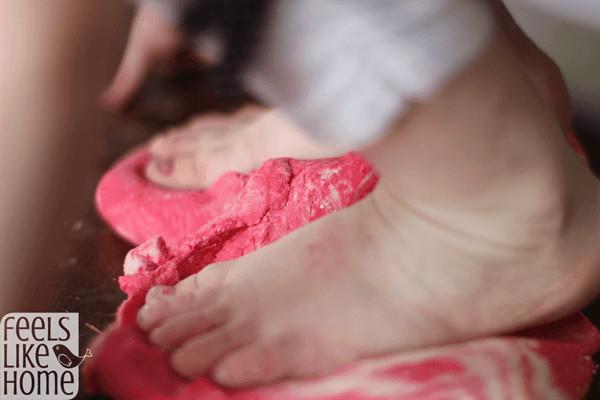 How to make colored salt dough - stepping on dough