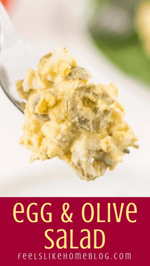 egg and olive salad on a fork