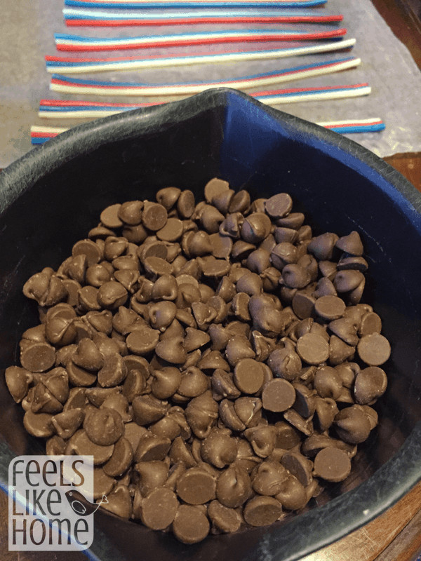 A bowl of chocolate chips ready to go into the microwave