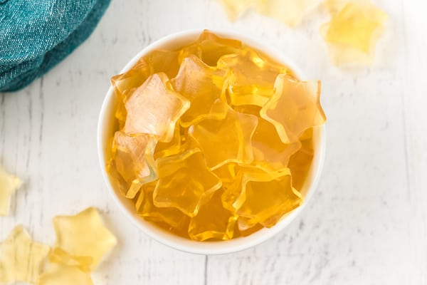lots of healthy homemade fruit snacks in a bowl