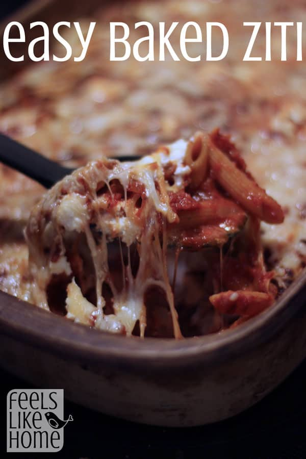 A close up of food, with Pasta and Baked ziti