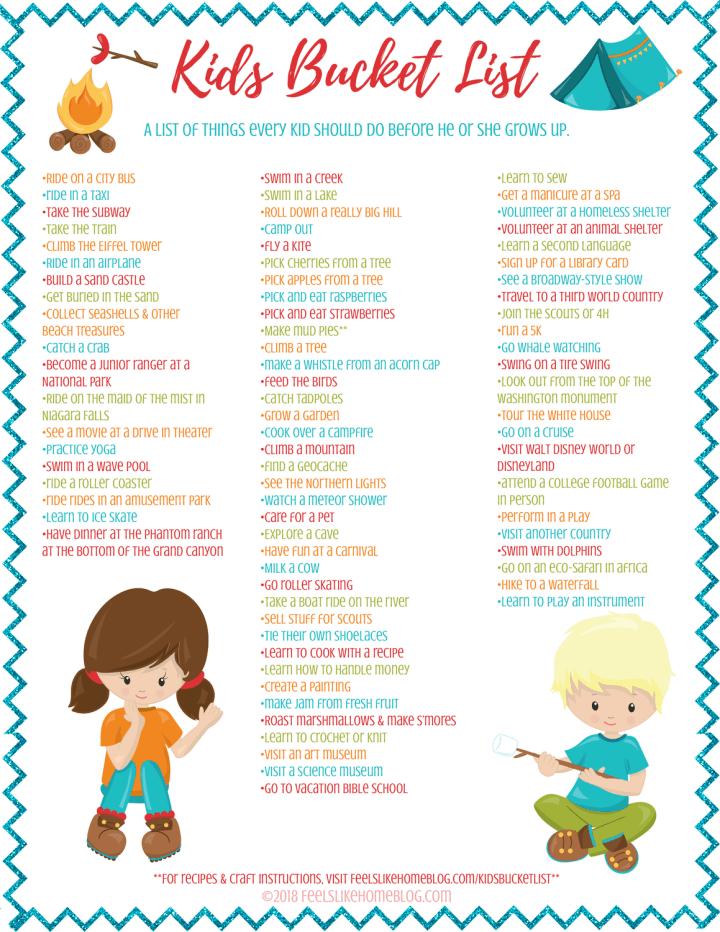 a kids bucket list printable