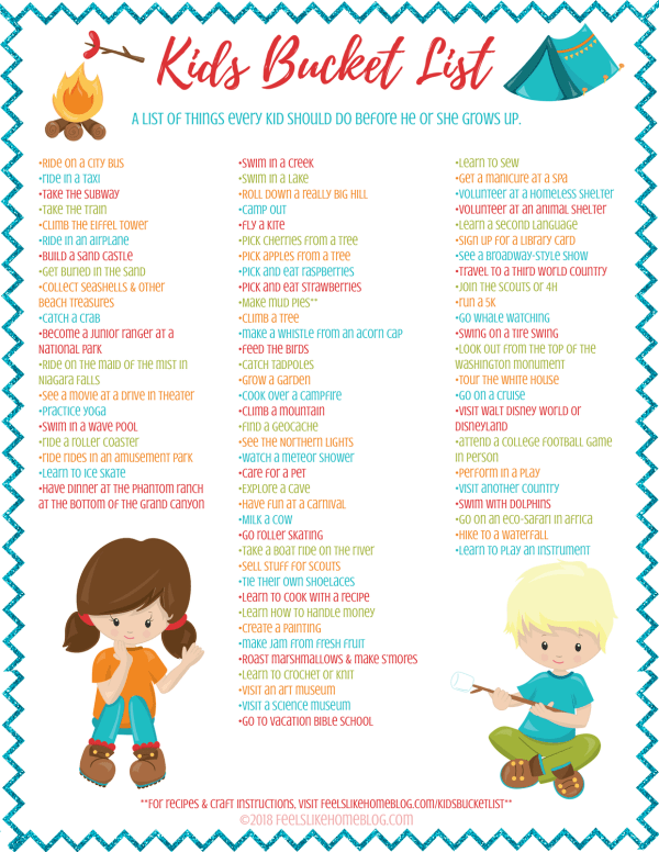 a kids bucket list printable