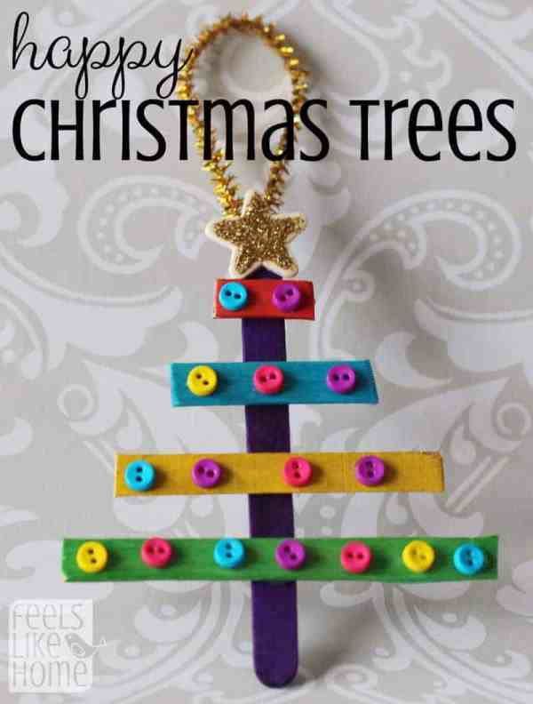 Preschool Christmas Ornaments - Popsicle Stick Trees
