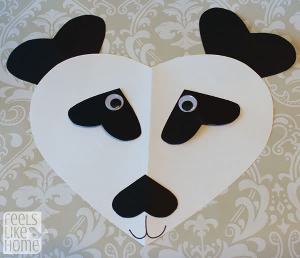 Valentine's Day heart-shaped animal crafts for kids panda bear