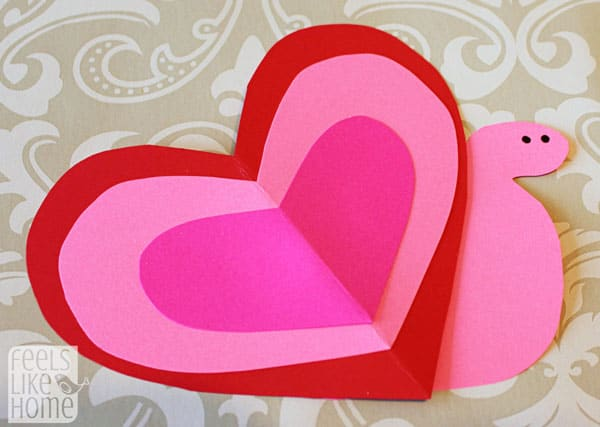 Valentine's Day heart-shaped animal crafts for kids snail