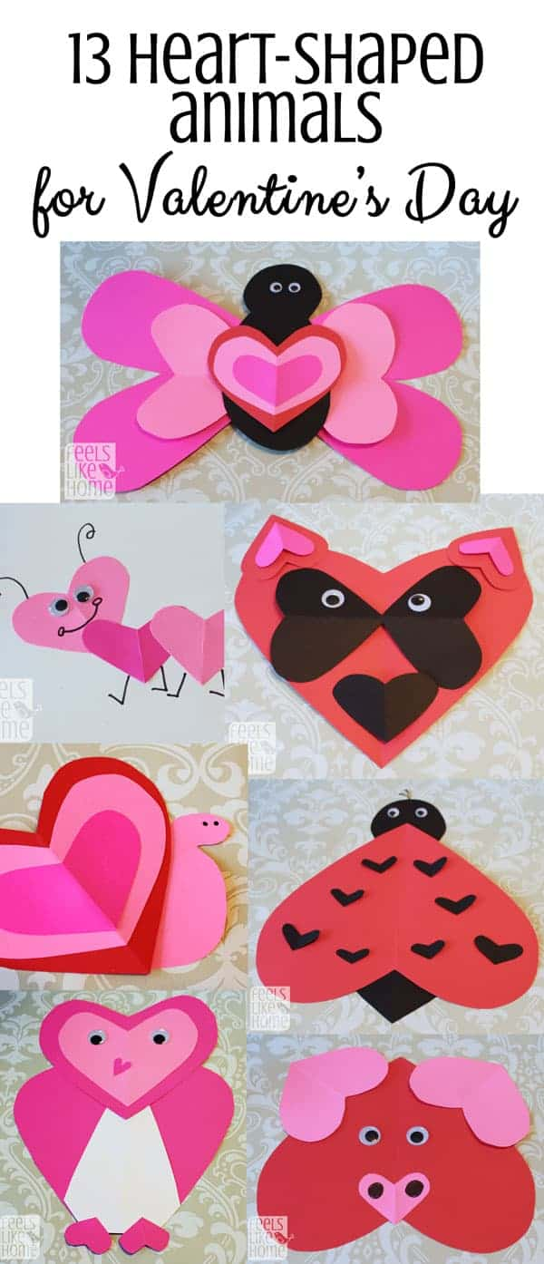 A collage of heart shaped craft animals