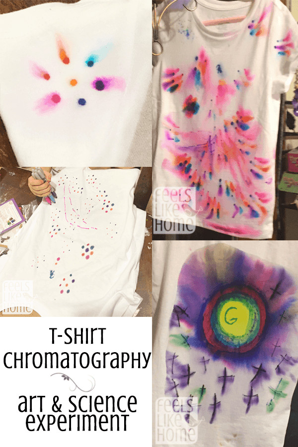 A collage of sharpie marker chromatography on t-shirts