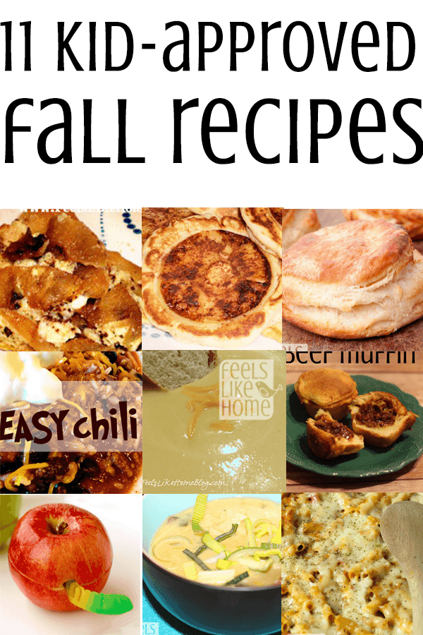 A collage of fall foods including apples, biscuits, and chili
