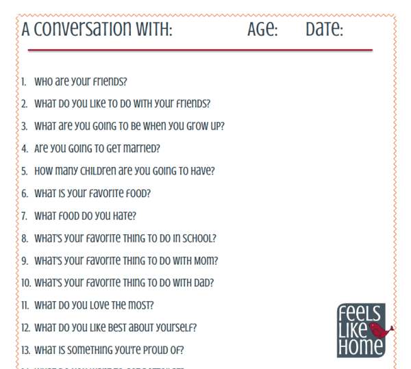 Interviewing kids is so much fun because they come up with the funniest things! Use this free printable with 20 interview questions and stick it in the baby book or scrapbook! Could be used by parents and families or teachers at home or at school. Fun conversation starters that can be answered on the first day of school, birthday, New Year's Day or any time of year! So many memories!