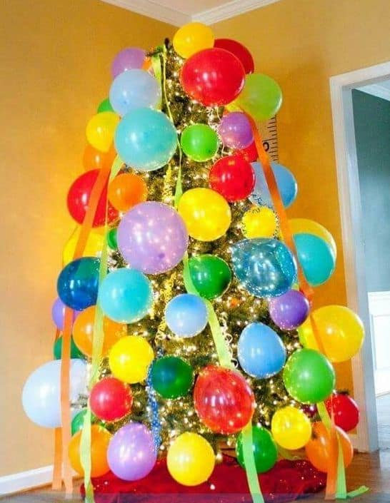 A Christmas tree decorated for a birthday