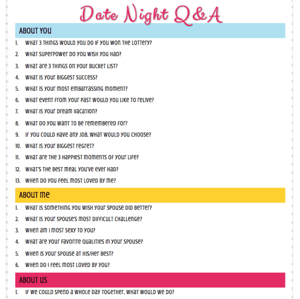 Date Night Questions for Married Couples or Boyfriends and Girlfriends - These fun questions are great conversation starters. Ask and answer them or separate and write down your answers (but it's date night so don't separate). Includes free printable and ideas for using them. Questions include romantic and funny. Great for a husband and a wife.