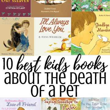 A collage of books about the death of a pet