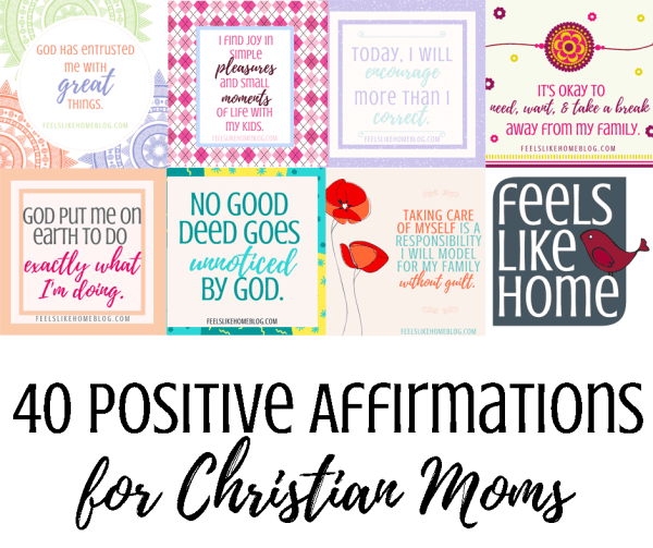 You will find tons of encouragement in these 40 printable positive affirmations cards for Christian moms. Dealing with children, your husband, motherhood, and life, these inspiring words will expose the truths of God's word in a meaningful, repeatable way.