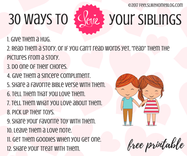 30 ways to help siblings get along - You want to build better relationships between your children. This free printable of simple activities and tips will have your kids loving their brothers and sisters all day long!