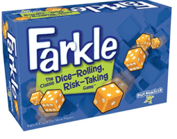 It's a little like Pass the Pigs which I wrote about above. I originally  got Pocket Farkle to take with Joe and I on a date night.
