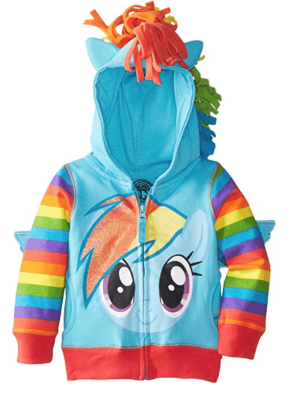 A colorful hoodie, with Rainbow Dash