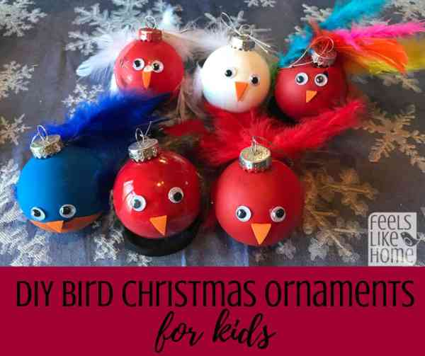 DIY Bird Christmas Ornament - These cute painted ornaments have real feathers. Perfect Christmas craft for kids or teens!