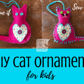 Felt Cat Ornament - DIY Christmas Ornaments for Kids (Free Printable Pattern)