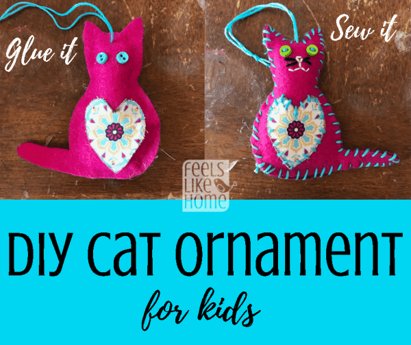 DIY Cat Christmas tree ornament craft for kids - These cute little kitty ornaments are made from felt and can be sewn or glued, making them a fun craft for all ages. Awesome ideas for making them quick and easy!