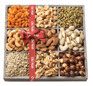 A box of nuts and seeds