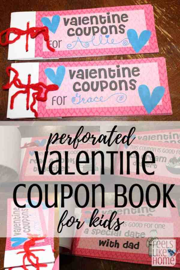 Free printable Valentines Coupon Book for Kids - Children will love when mom prints these adorable coupons for them! Cute ideas to show them how much you love them. Make great gifts for a DIY Valentines Day. Includes instructions for perforating the coupons to make them easier to tear.