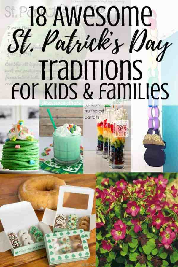 A collage of St Patrick\'s Day ideas for families
