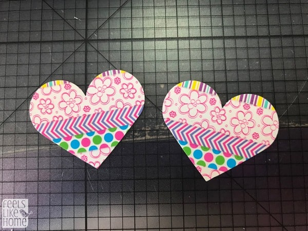 Two hearts made of washi tape