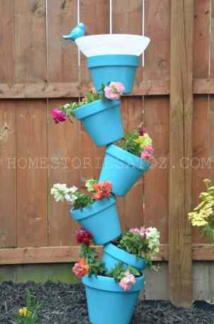 a stack of flower pots