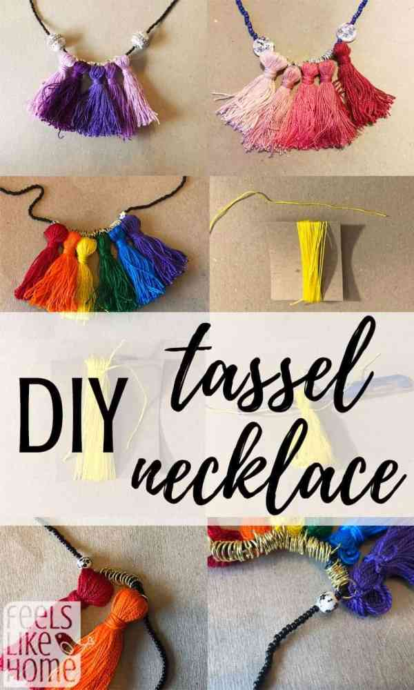 How to make a DIY tassel necklace - Simple and easy tutorials instructions for these boho projects! Uses beads to make a pretty necklace for kids or adults. Awesome idea for the best creative fun simple projects! Use embroidery thread or floss to make a simple necklace to complement any outfit! Unique idea.