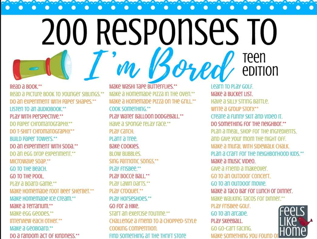 20 Fun Things for Tweens & Teens to Do When They're Bored