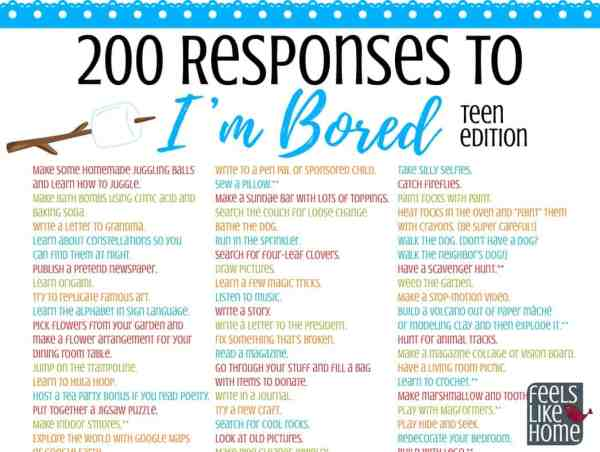 the ultimate list of things for tweens teens to do when they 39 re bored 200 ideas printable. Black Bedroom Furniture Sets. Home Design Ideas