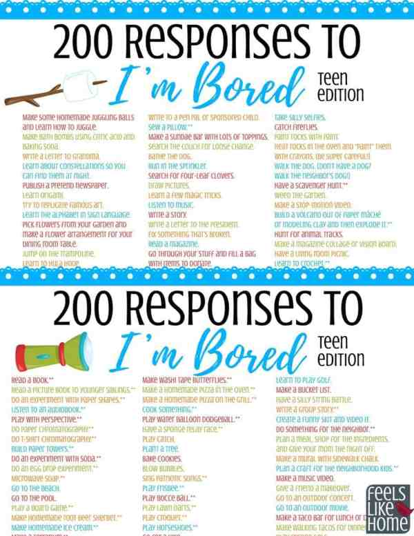 A collage of things for teens to do when they\'re bored