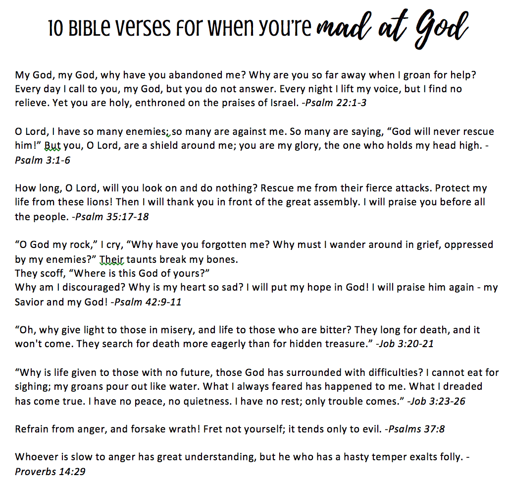10 bible verses for when you're mad at god printable - feels like home™