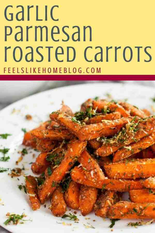 A plate of roasted Parmesan carrots