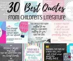 Best inspirational quotes from kids books and children's literature - These famous and not so famous truths are from Roald Dahl, Harry Potter, and many more. Includes free printables. Awesome life lessons for the heart.