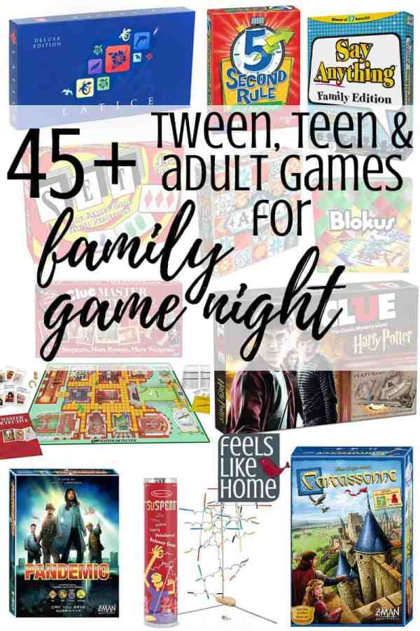A collage of the best games for family game night