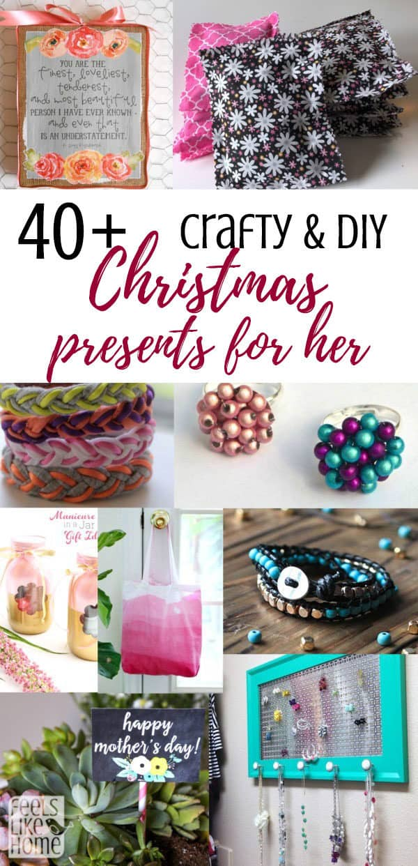 Crafty DIY sentimental and thoughtful Christmas gift ideas from daughter or adults or teens or tweens or kids for mom or any women - Many unique and traditional ideas for homemade and handmade and often cheap, inexpensive, and frugal things to make. Includes jewelry and mason jar gifts. Cute, creative, simple, and easy. Many with pictures, photos, and flowers.