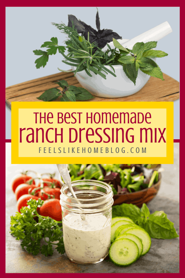 A collage of herbs and ranch dressing