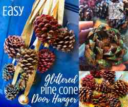 Simple & easy Christmas decorations - This pretty door hanger uses glitter and pine cones with gold ribbon and jingle bells to make a rustic and unique holiday decoration. Even kids can make this Christmas craft!