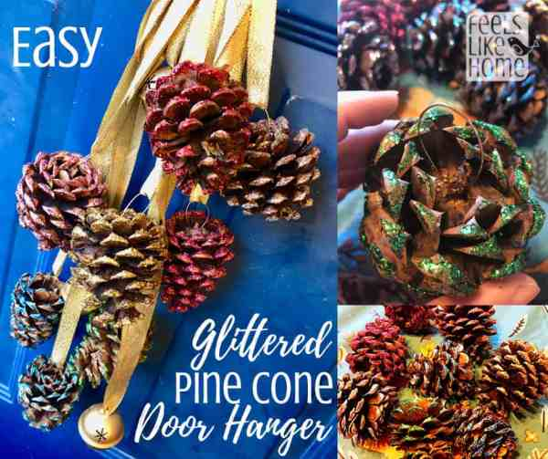 Easy & cute DIY pine cone crafts for kids and adults - This door hanger craft is so simple even preschoolers can make it! These projects work well with big or small pine cones and make great Xmas gifts or decorations. Perfect for children in kindergarten or any age.